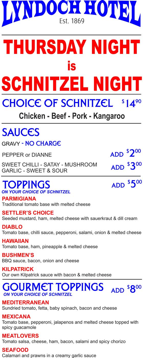 Lyndoch-Hotel-Thursday-Schnitzel-Special-Barossa-Menu
